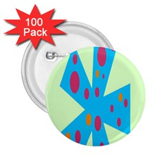 Starburst Shapes Large Circle Green Blue Red Orange Circle 2 25  Buttons (100 Pack)  by Alisyart