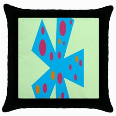 Starburst Shapes Large Circle Green Blue Red Orange Circle Throw Pillow Case (black) by Alisyart
