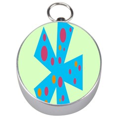 Starburst Shapes Large Circle Green Blue Red Orange Circle Silver Compasses by Alisyart