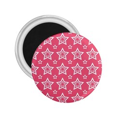 Star Pink White Line Space 2 25  Magnets by Alisyart