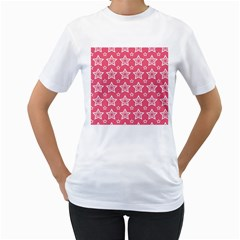 Star Pink White Line Space Women s T Shirt (white) (two Sided)