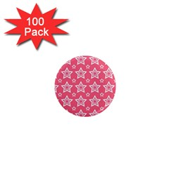 Star Pink White Line Space 1  Mini Magnets (100 Pack)  by Alisyart