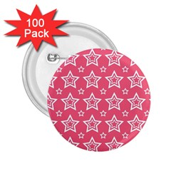 Star Pink White Line Space 2 25  Buttons (100 Pack)  by Alisyart