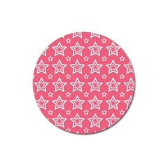 Star Pink White Line Space Magnet 3  (round) by Alisyart