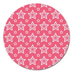 Star Pink White Line Space Magnet 5  (round) by Alisyart