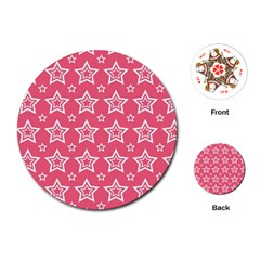 Star Pink White Line Space Playing Cards (round)  by Alisyart