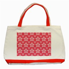 Star Pink White Line Space Classic Tote Bag (red) by Alisyart