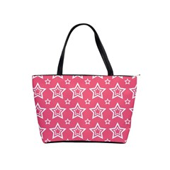 Star Pink White Line Space Shoulder Handbags by Alisyart