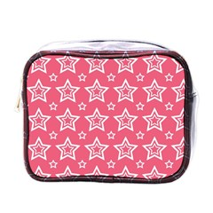 Star Pink White Line Space Mini Toiletries Bags by Alisyart