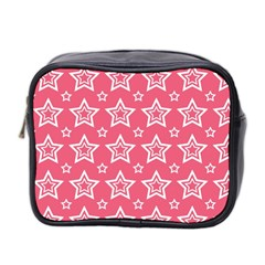Star Pink White Line Space Mini Toiletries Bag 2 Side by Alisyart