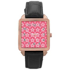 Star Pink White Line Space Rose Gold Leather Watch  by Alisyart