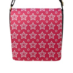 Star Pink White Line Space Flap Messenger Bag (l)  by Alisyart