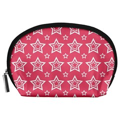 Star Pink White Line Space Accessory Pouches (large)