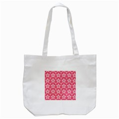 Star Pink White Line Space Tote Bag (white)