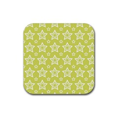 Star Yellow White Line Space Rubber Square Coaster (4 Pack)  by Alisyart