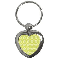 Star Yellow White Line Space Key Chains (heart)  by Alisyart
