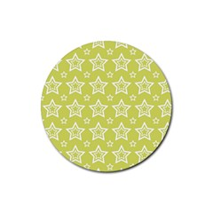 Star Yellow White Line Space Rubber Round Coaster (4 Pack)