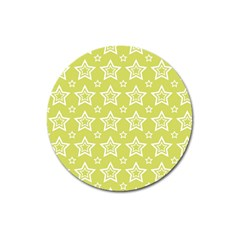 Star Yellow White Line Space Magnet 3  (round) by Alisyart