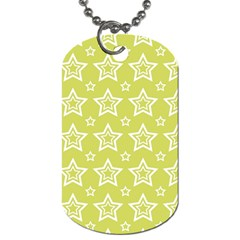 Star Yellow White Line Space Dog Tag (one Side)