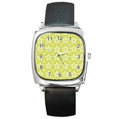 Star Yellow White Line Space Square Metal Watch by Alisyart