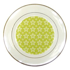 Star Yellow White Line Space Porcelain Plates by Alisyart