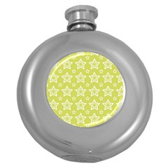 Star Yellow White Line Space Round Hip Flask (5 Oz)