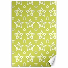 Star Yellow White Line Space Canvas 12  X 18
