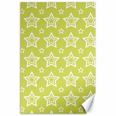 Star Yellow White Line Space Canvas 24  X 36