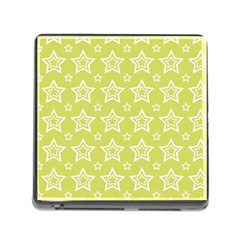 Star Yellow White Line Space Memory Card Reader (square) by Alisyart
