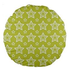 Star Yellow White Line Space Large 18  Premium Round Cushions by Alisyart