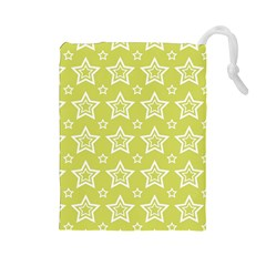 Star Yellow White Line Space Drawstring Pouches (large)  by Alisyart