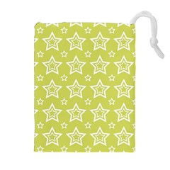 Star Yellow White Line Space Drawstring Pouches (extra Large) by Alisyart