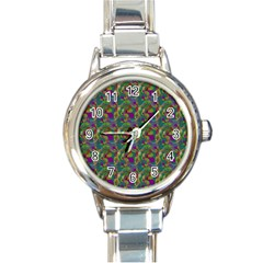 Pattern Abstract Paisley Swirls Round Italian Charm Watch by Simbadda