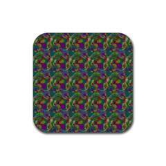 Pattern Abstract Paisley Swirls Rubber Square Coaster (4 Pack)  by Simbadda