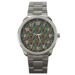 Pattern Abstract Paisley Swirls Sport Metal Watch by Simbadda