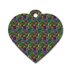Pattern Abstract Paisley Swirls Dog Tag Heart (two Sides) by Simbadda