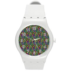 Pattern Abstract Paisley Swirls Round Plastic Sport Watch (m) by Simbadda