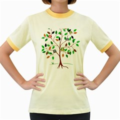 Tree Root Leaves Owls Green Brown Women s Fitted Ringer T-shirts by Simbadda
