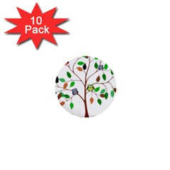 Tree Root Leaves Owls Green Brown 1  Mini Buttons (10 Pack)  by Simbadda