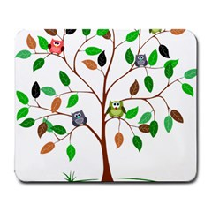Tree Root Leaves Owls Green Brown Large Mousepads by Simbadda