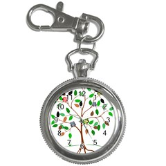 Tree Root Leaves Owls Green Brown Key Chain Watches by Simbadda