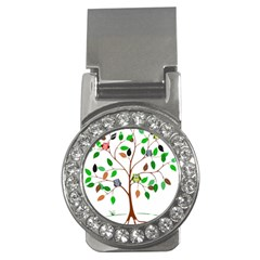 Tree Root Leaves Owls Green Brown Money Clips (cz)  by Simbadda