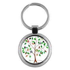 Tree Root Leaves Owls Green Brown Key Chains (round)  by Simbadda