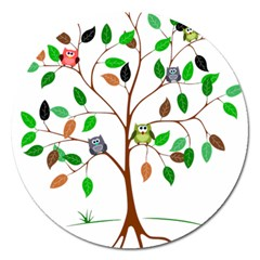 Tree Root Leaves Owls Green Brown Magnet 5  (round) by Simbadda