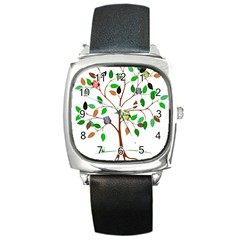Tree Root Leaves Owls Green Brown Square Metal Watch by Simbadda