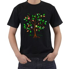Tree Root Leaves Owls Green Brown Men s T-shirt (black) (two Sided) by Simbadda
