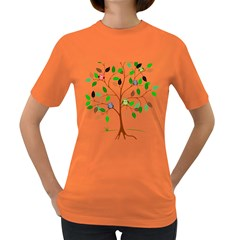 Tree Root Leaves Owls Green Brown Women s Dark T Shirt by Simbadda