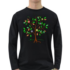 Tree Root Leaves Owls Green Brown Long Sleeve Dark T Shirts by Simbadda