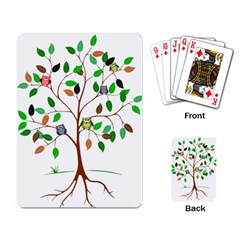 Tree Root Leaves Owls Green Brown Playing Card by Simbadda