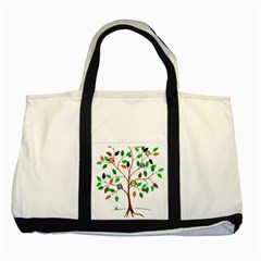 Tree Root Leaves Owls Green Brown Two Tone Tote Bag by Simbadda